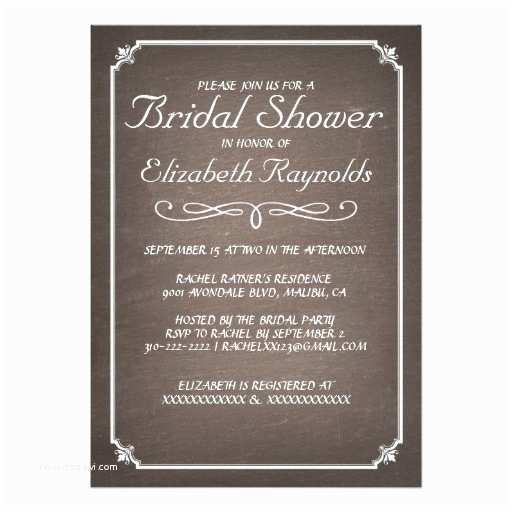 Chalkboard Bridal Shower Invitations Chalkboard Brown Bridal Shower Invitations