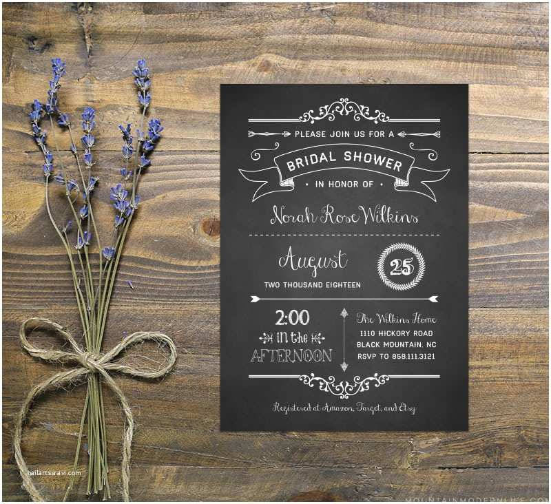 Chalkboard Bridal Shower Invitations Chalkboard Diy Bridal Shower Invitation