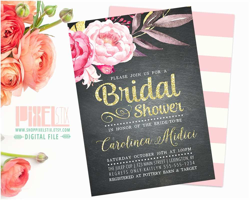 Chalkboard Bridal Shower Invitations Chalkboard Floral Bridal Shower Invitation Vintage Rustic