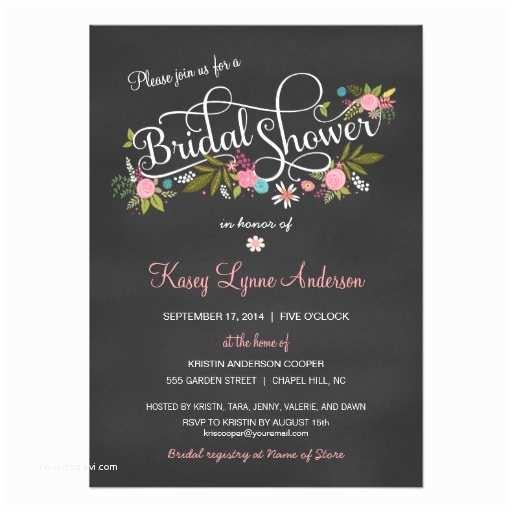 Chalkboard Bridal Shower Invitations Chalkboard Floral Bridal Shower Invitations