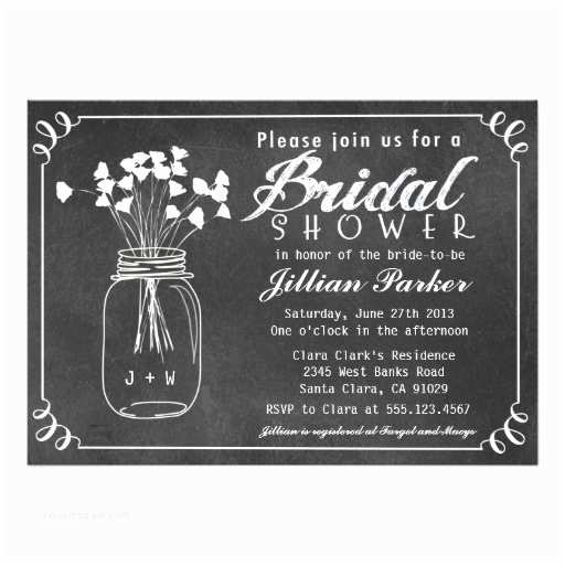 Chalkboard Bridal Shower Invitations Chalkboard Mason Jar Bridal Shower Invitation