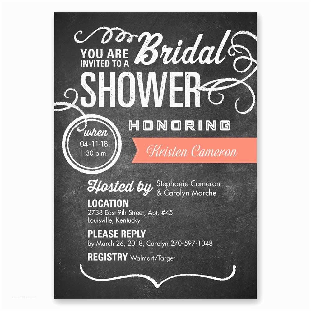 Chalkboard Bridal Shower Invitations Chalkboard Poster Bridal Shower Invitation