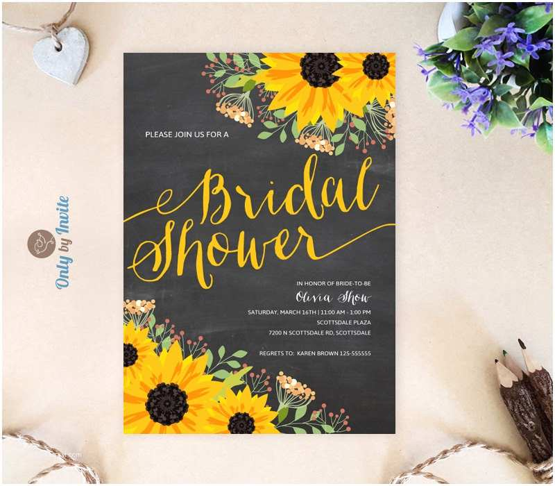 Chalkboard Bridal Shower Invitations Chalkboard Sunflower Bridal Shower Invitation Printed On