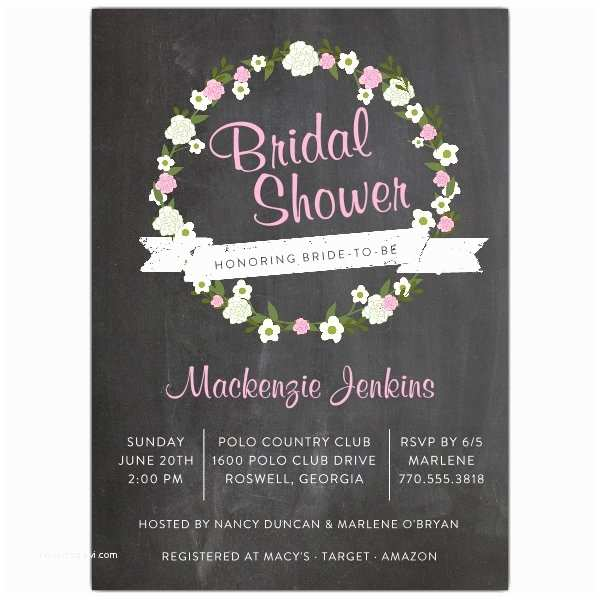 Chalkboard Bridal Shower Invitations Chalkboard Wreath Bridal Shower Invitations