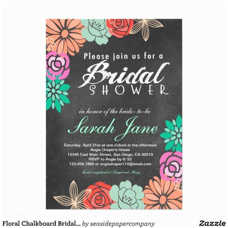 Chalkboard Bridal Shower Invitations Floral Chalkboard Bridal Shower Invitation