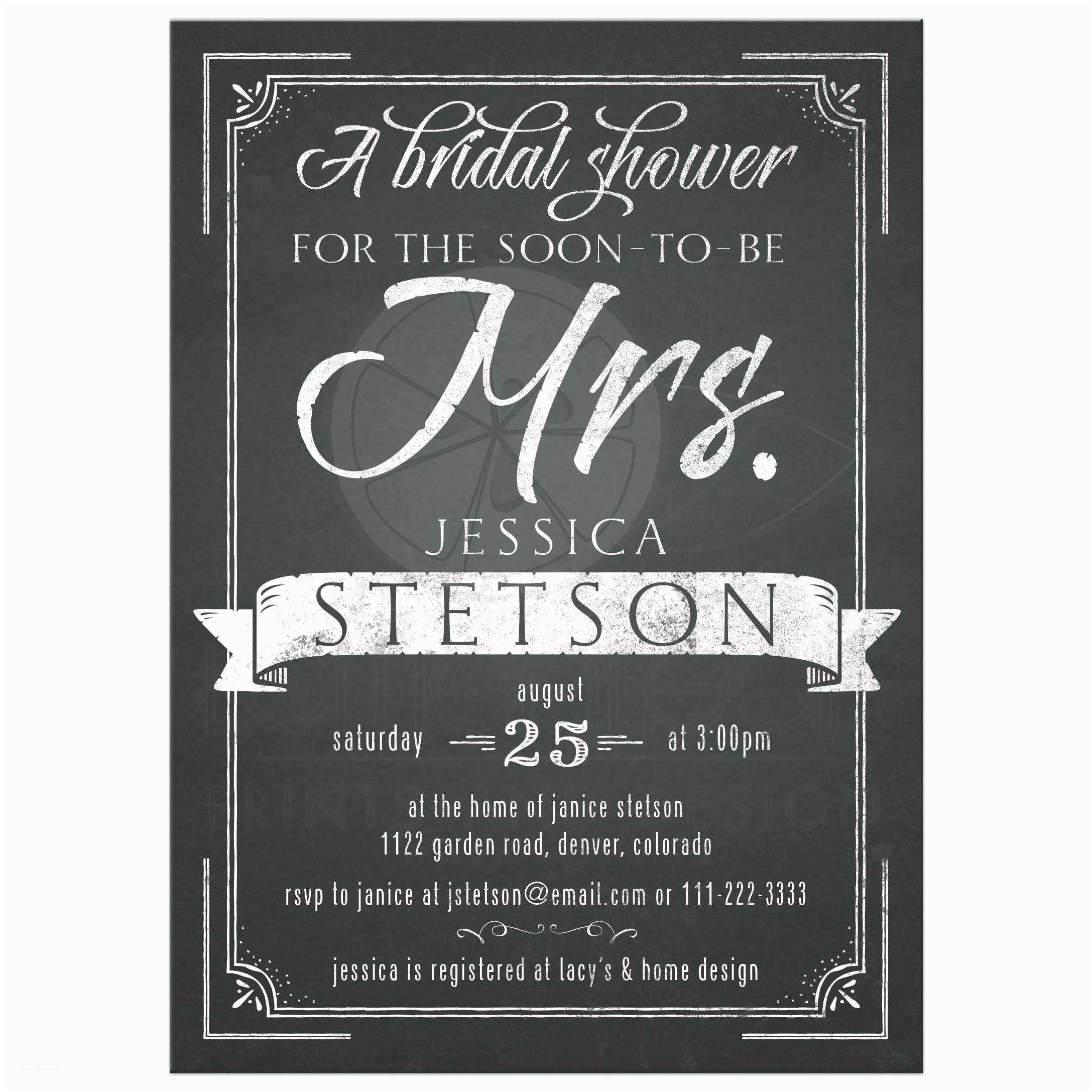 Chalkboard Bridal Shower Invitations Future Mrs Chalkboard Bridal Shower Invitation