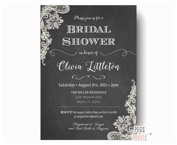 Chalkboard Bridal Shower Invitations Lace Bridal Shower Invitations Printable Chalkboard