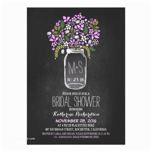 Chalkboard Bridal Shower Invitations Mason Jar Chalkboard Bridal Shower Invitation