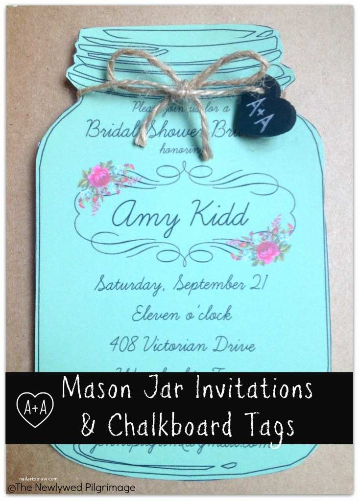 Chalkboard Bridal Shower Invitations Mason Jar Invitations and Chalkboard Tags for Weddings or