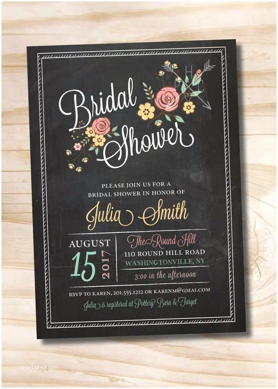 Chalkboard Bridal Shower Invitations Modern Floral Vintage Chalkboard Bridal Shower Baby Shower