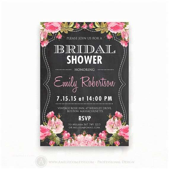 Chalkboard Bridal Shower Invitations Printable Bridal Shower Invitation Chalkboard & Pink Rose