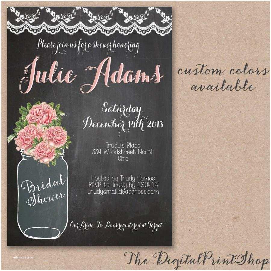 Chalkboard Bridal Shower Invitations Rustic Baby Shower Mason Jar Bridal Shower Invite