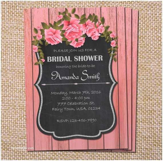 Chalkboard Bridal Shower Invitations Rustic Bridal Shower Invitation Chalkboard Invitation