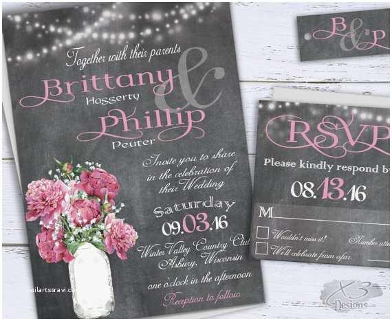 printable country wedding invitations diy rustic wedding invitation chalkboard wedding invites pink peonies babys breath in mason jar