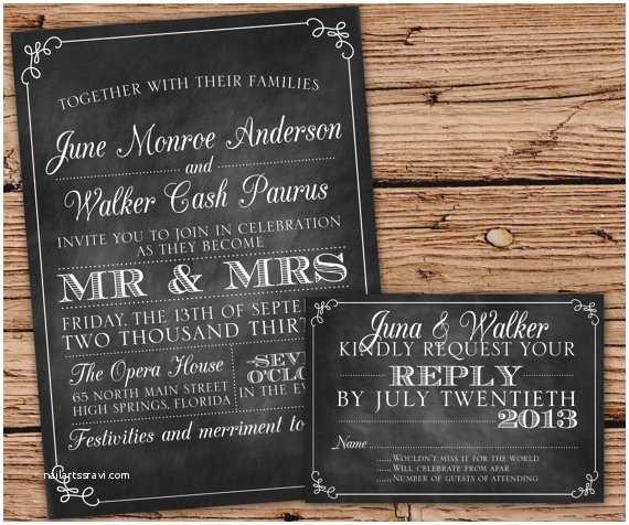 Chalkboard Wedding Invitations Rustic Wedding Invitations 15 Charming Ideas with Natural