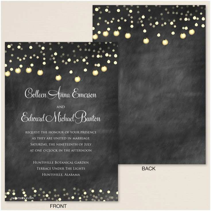 Chalkboard Wedding Invitations Starry Lights Chalkboard Wedding Invitation
