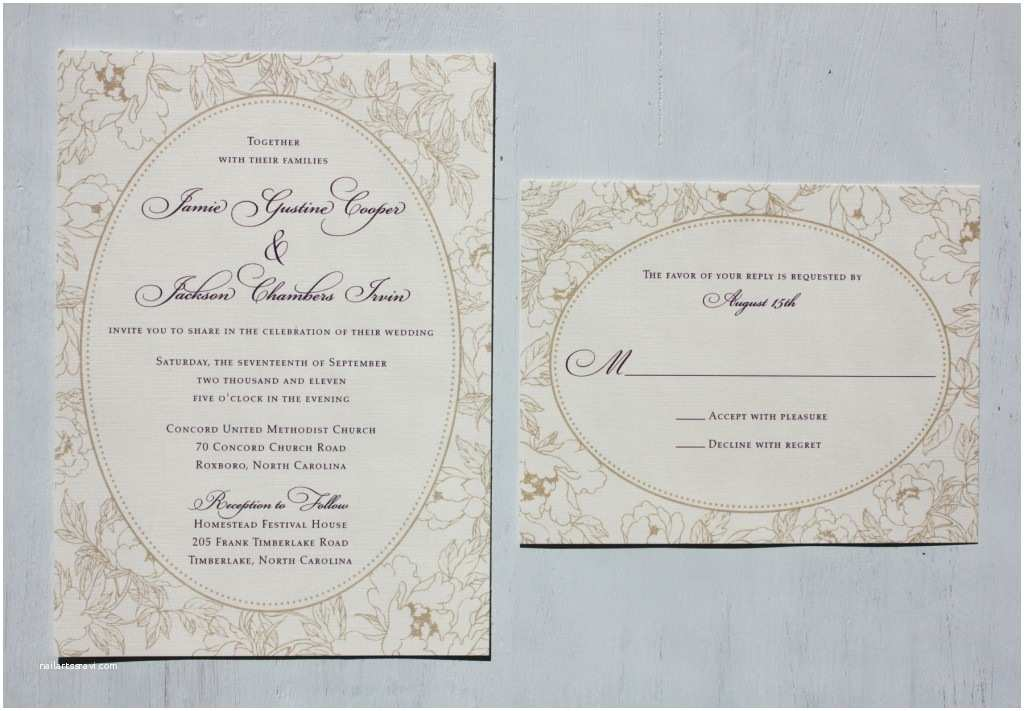 Champagne Wedding Invitations Champagne & Dark Purple Vintage Floral Oval Border Wedding