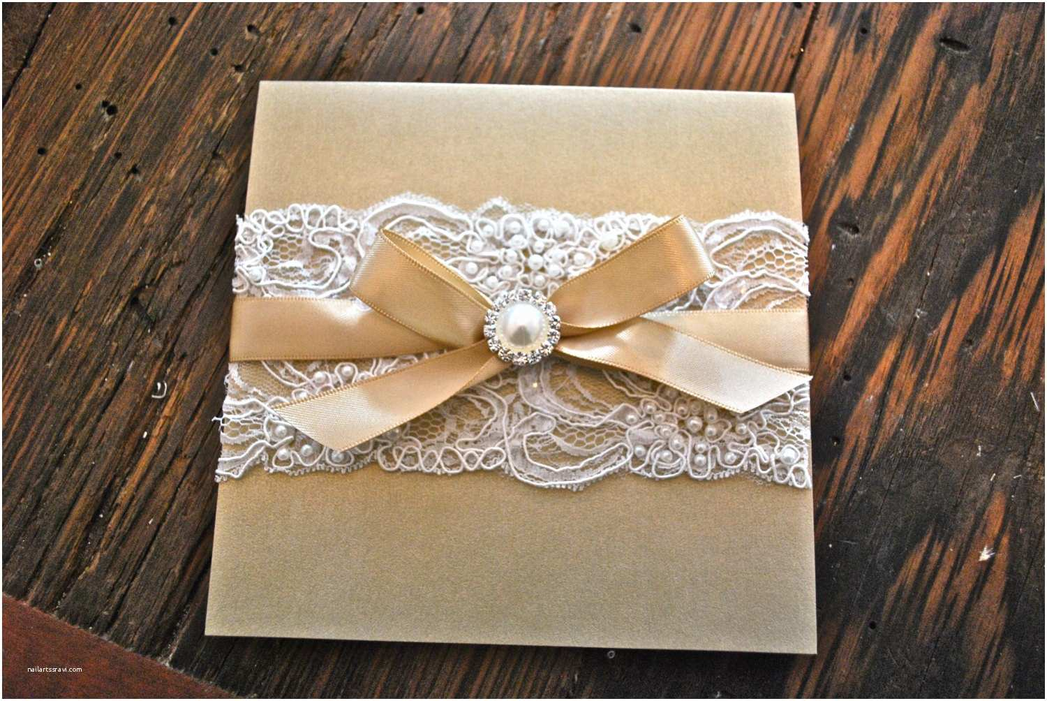Champagne Wedding Invitations Champagne & Ivory Lace Wedding Invitation