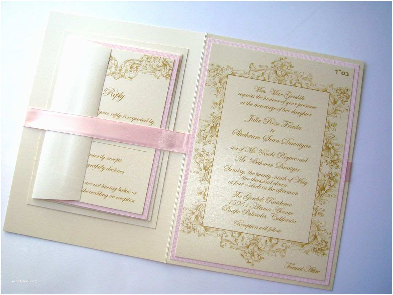 Champagne Wedding Invitations Embellished Paperie Vintage Champagne Gold and Blush