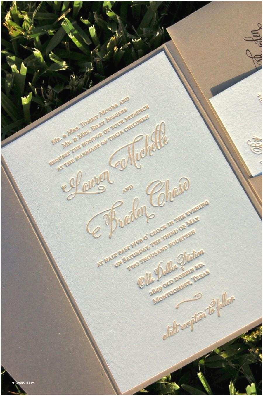 Champagne Wedding Invitations Fawn and Champagne Wedding Invitation Letterpress Wedding