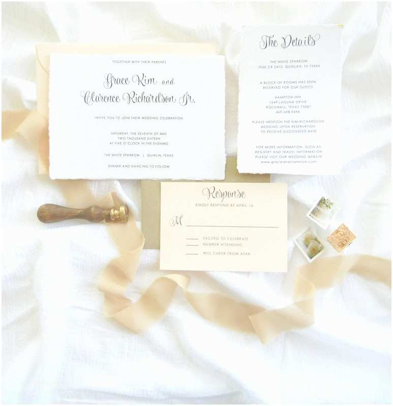 Champagne Wedding Invitations Handmade Paper organic Wedding Invitations