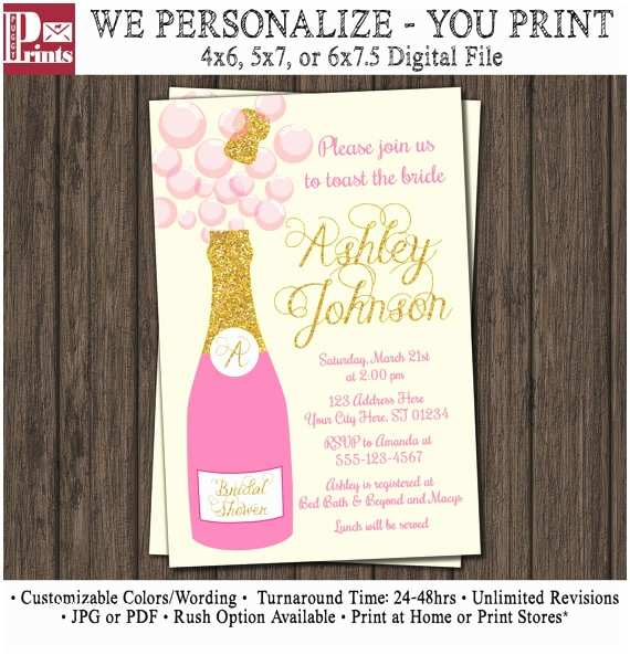 Champagne Wedding Invitations Inspirational Bridal Shower Invitations Champagne Ideas