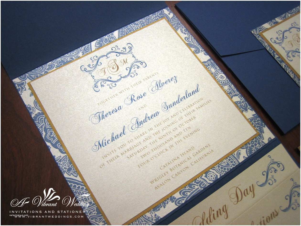Champagne Wedding Invitations Navy Blue & Champagne Wedding Invitation with Monogram – A