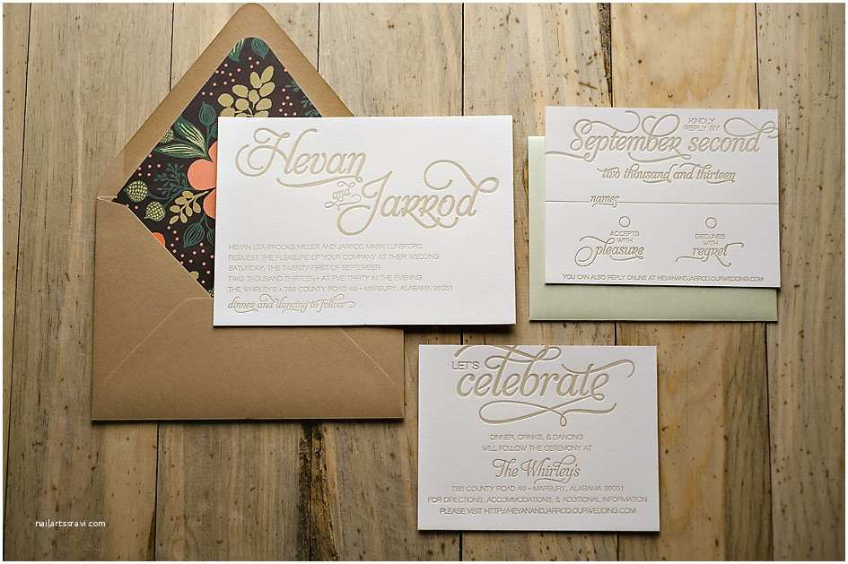 Champagne Wedding Invitations Real Wedding Hevan and Jarrod