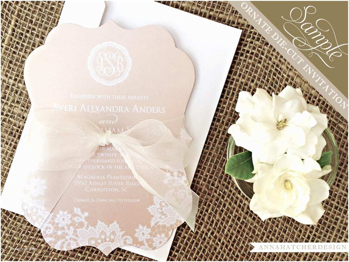 Champagne Wedding Invitations Sample Champagne & Lace ornate Die Cut Wedding Invitation