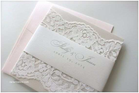 Champagne Wedding Invitations soft Romantic Lace Wedding Invitation In Champagne Blush