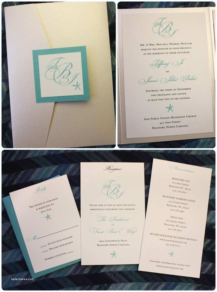 Champagne Wedding Invitations Tiffany Blue & Champagne Starfish and Monogram Pocketfold