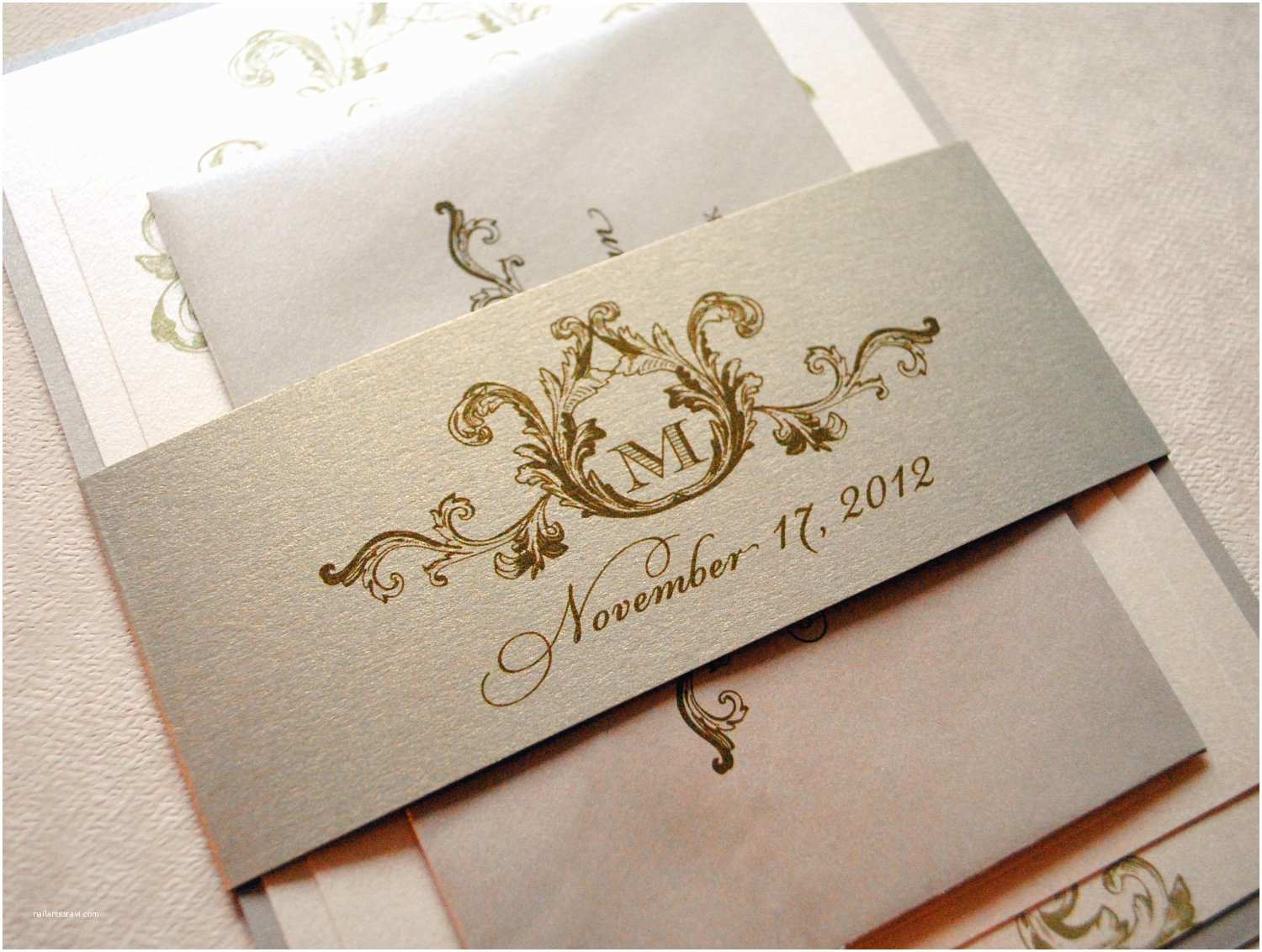Champagne Wedding Invitations Wedding Invitations Ivory Wedding Invitation Vintage Wedding
