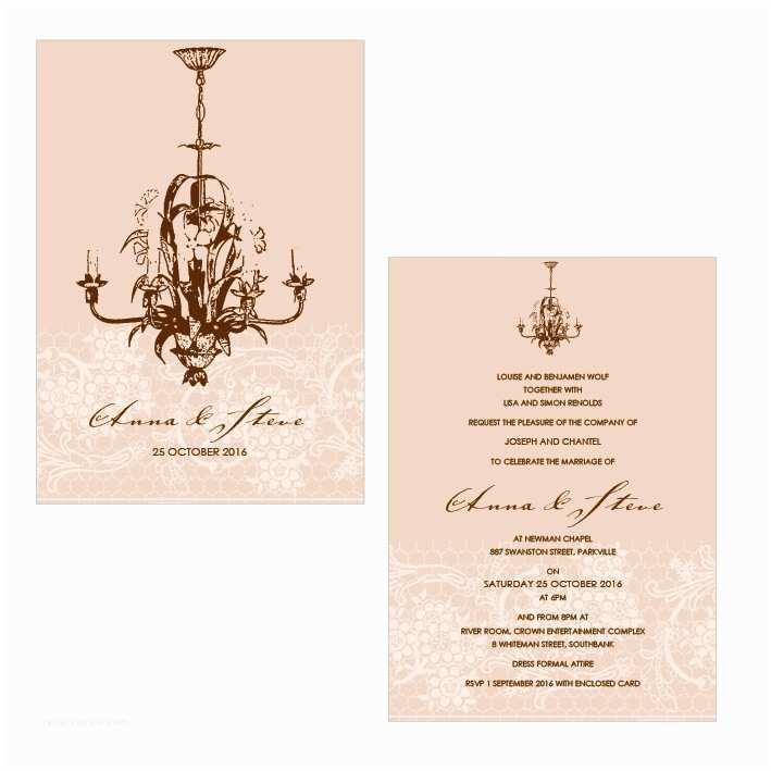 Chandelier Wedding Invitations Alannah Rose Wedding Invitations Stationery