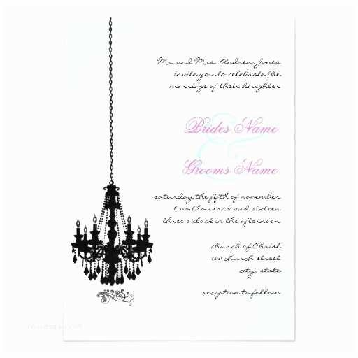 "Chandelier Wedding Invitations Black Chandelier Damask Wedding Invitations 5"" X 7"