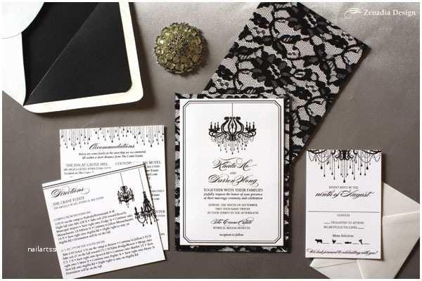 Chandelier Wedding Invitations Black Lace Black Chandelier Wedding Invite Zenadia Design