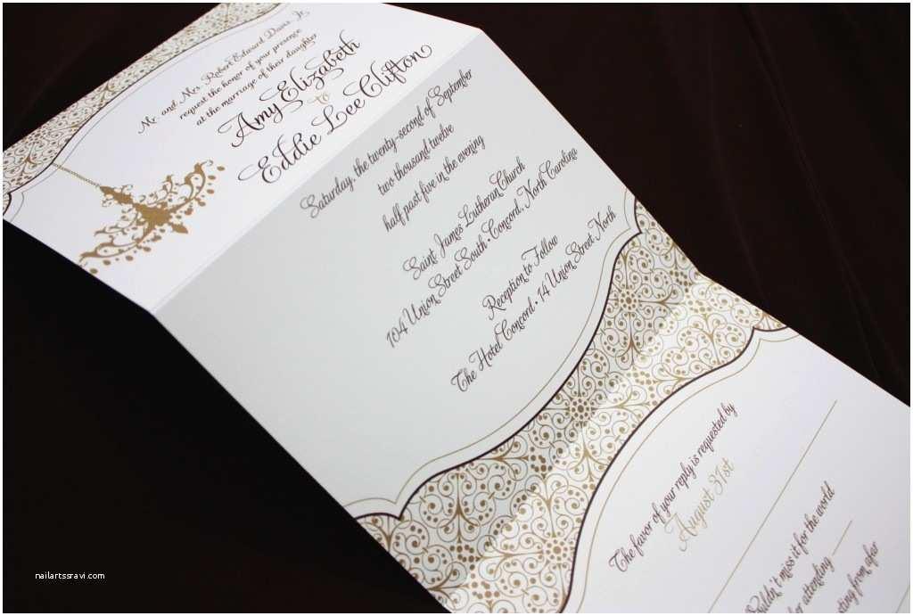 Chandelier Wedding Invitations Gold & Brown Chandelier and ornate Pattern Vertical