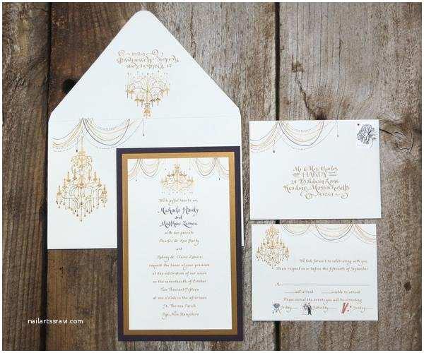 Chandelier Wedding Invitations Gold Chandelier Wedding Invitation – El S Cards