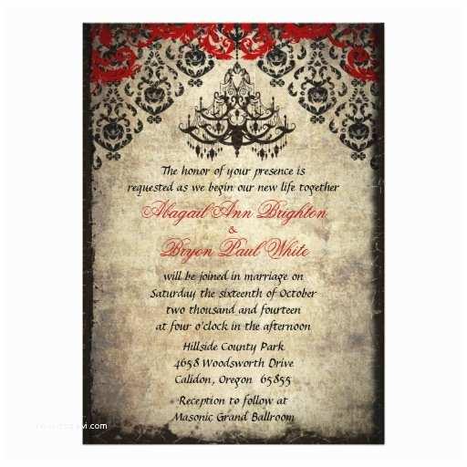 "Chandelier Wedding Invitations Red Vintage Chandelier Wedding Invitation 5"" X 7"