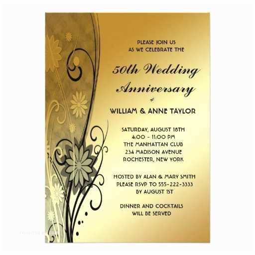 "Cheap 50th Wedding Anniversary Invitations Gold Flower Swirls 50th Anniversary Invitations 5"" X 7"