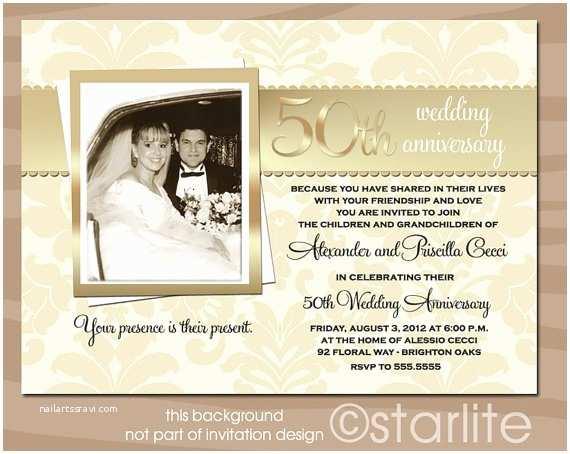 Cheap 50th Wedding Anniversary Invitations Golden 50 Anniversary Photo Invitation 50th by Starwedd On
