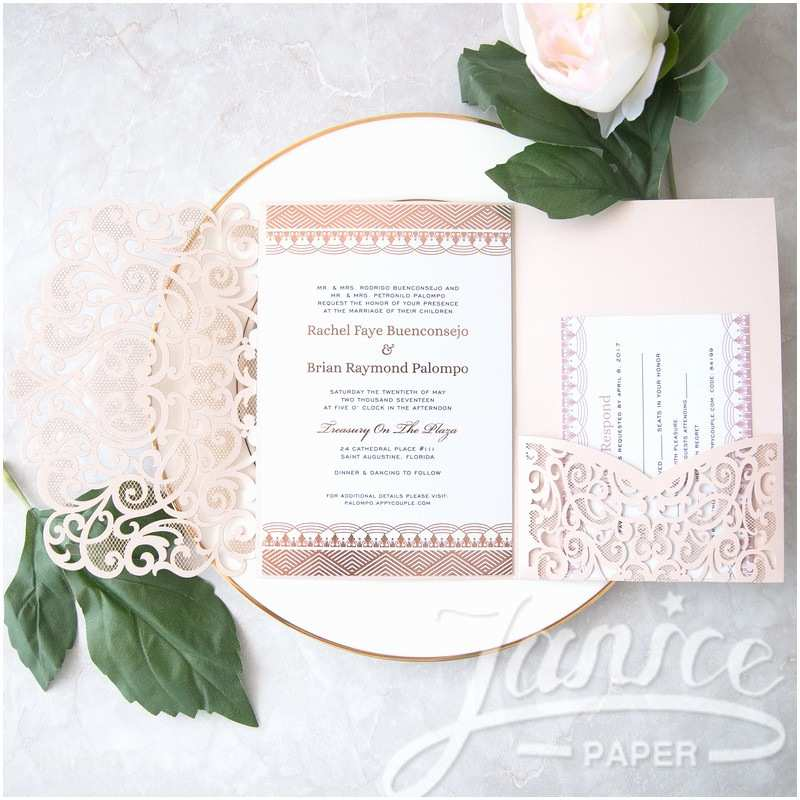 Cheap Bulk Wedding Invitations Graceful Love Heart Tri Fold Laser Cut Pocket wholesale