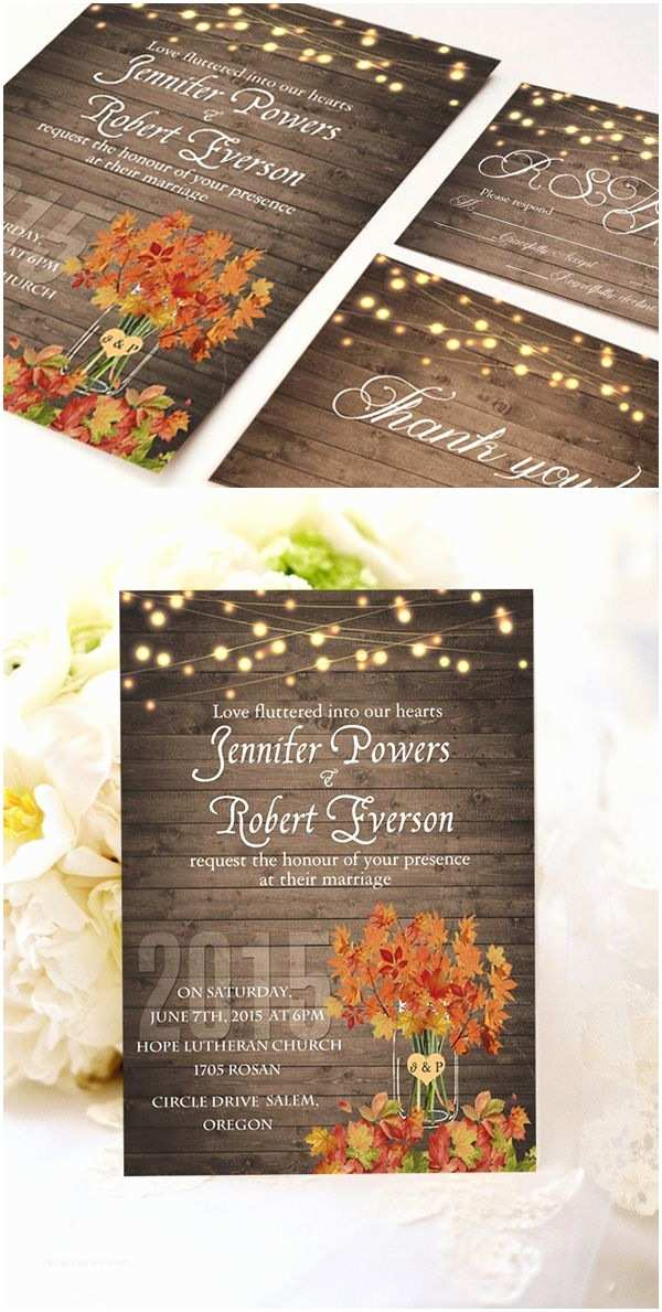 Cheap Country Wedding Invitations Cheap Rustic Wooden String Light Mason Jar Fall Wedding