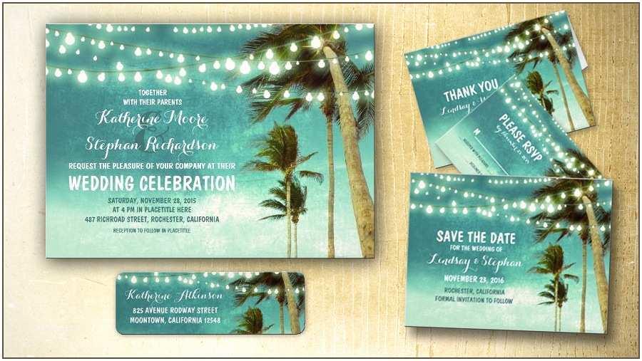 Cheap Destination Wedding Invitations Tropical Wedding Invitation Rectangle Landscape Blue