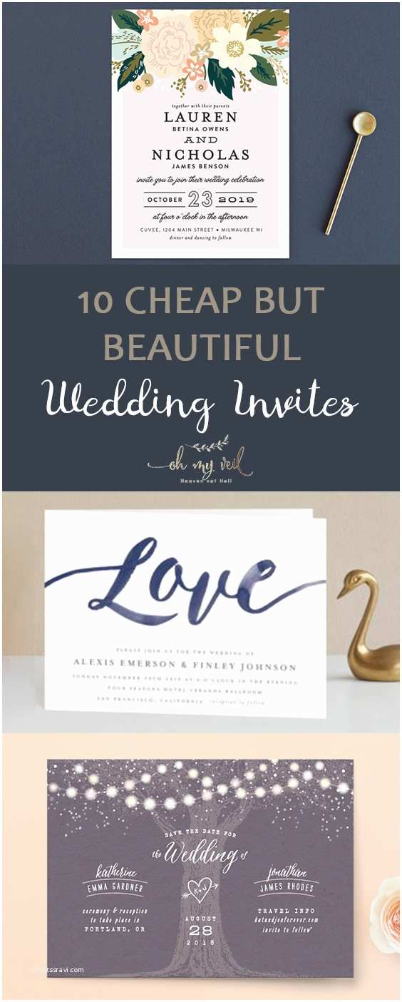 Cheap Diy Wedding Invitations 10 Cheap but Beautiful Wedding Invites Oh My Veil All