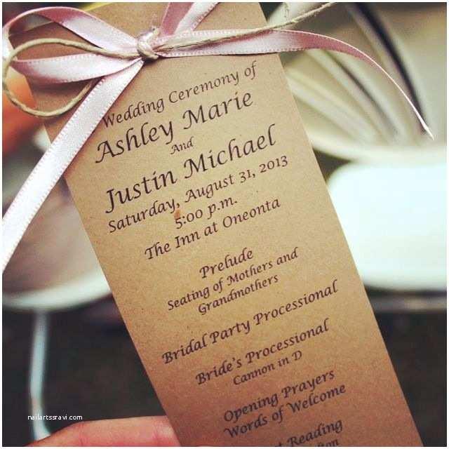 Cheap Diy Wedding Invitations Diy Wedding Programs Card Stock Ribbon and Twine Easy