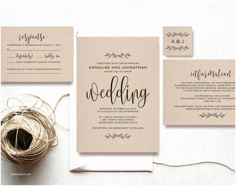 Cheap Diy Wedding Invitations Kraft Wedding Invitation Printable Rustic Invitation Set