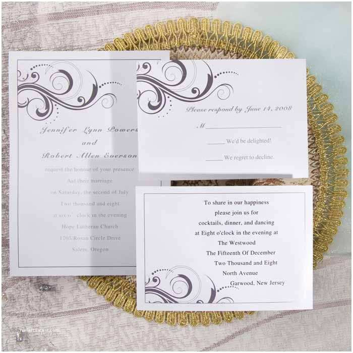 Cheap Elegant Wedding Invitations Simple White and Grey Inexpensive Printable Wedding