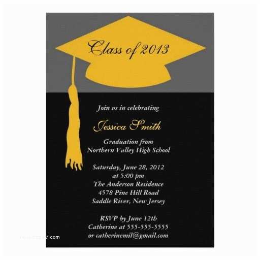 Cheap Graduation Invitations Black & Gold Grad Cap Graduation Party Invitations