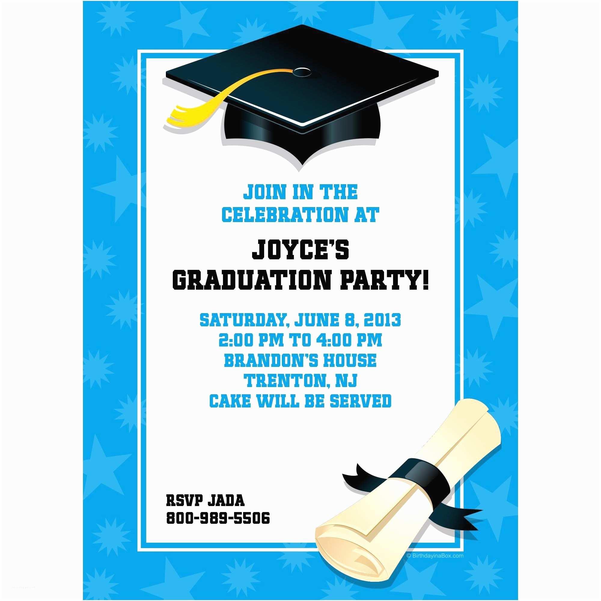 Cheap Graduation Party Invitations Bright Blue Graduation Personalized Invitation Each