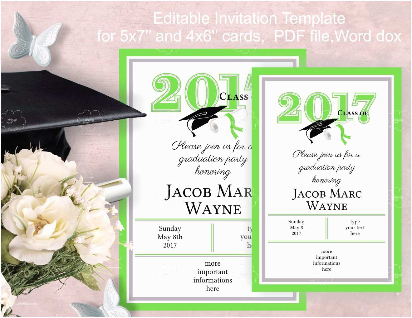 Cheap Graduation Party Invitations Graduation Party Invitation Template Edit Yourself